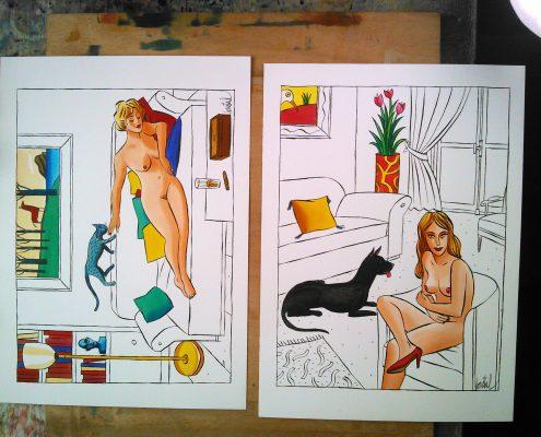 Loustal, deux dessins