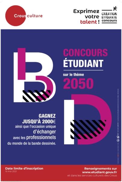 Affiche concours Crous étudiant BD